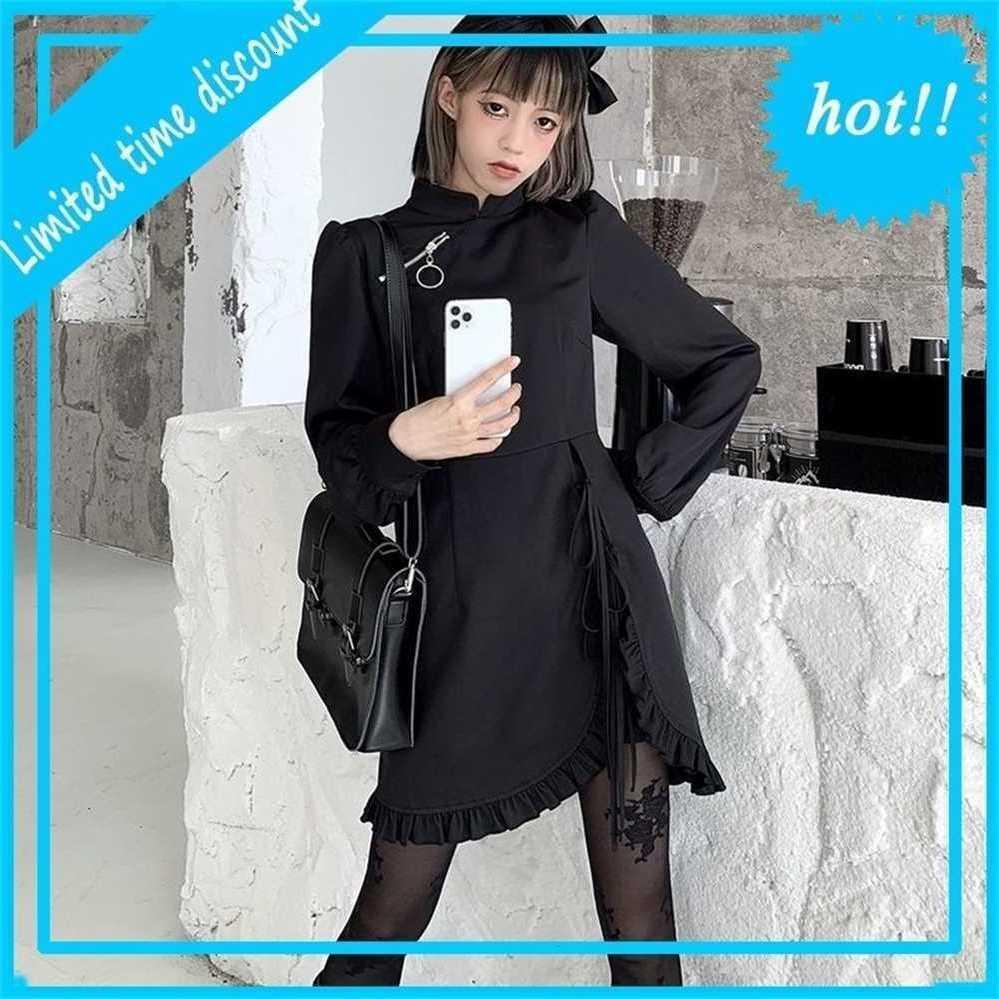 QWeek Frauen Goth Gothic Harajuku Punk Bandage Black Mini Long Mouwen Ruches Party Kleid für Neujahr 2021 Cosplay