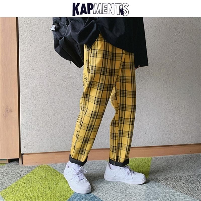 Kapments Streetwear Amarillo Plaid Joggers Hombre Casual Harem Harem Hombres Coreano Hip Hop Pantalones Pantalones de pista más Tamaño Y201123