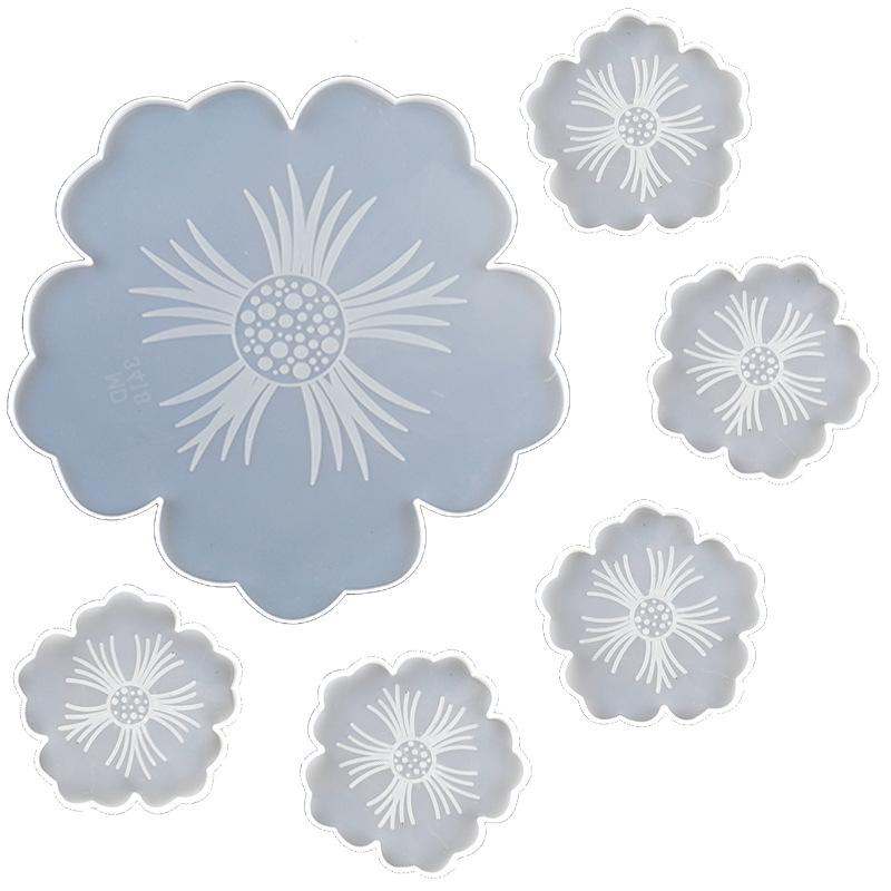 Tea Tray Coaster Mould Suit Flower Shaped Handmade Crystal Epoxy Resin Silicone White Molds DIY New Pattern 32qz J2