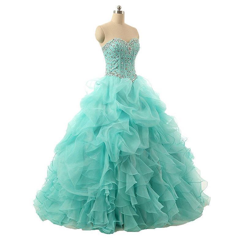 New Strapless Ice Blue Colorful Beading Ball Ball Vestidos de baile 2020 Ruffled Organza Plus Size Vestidos de festa noturno