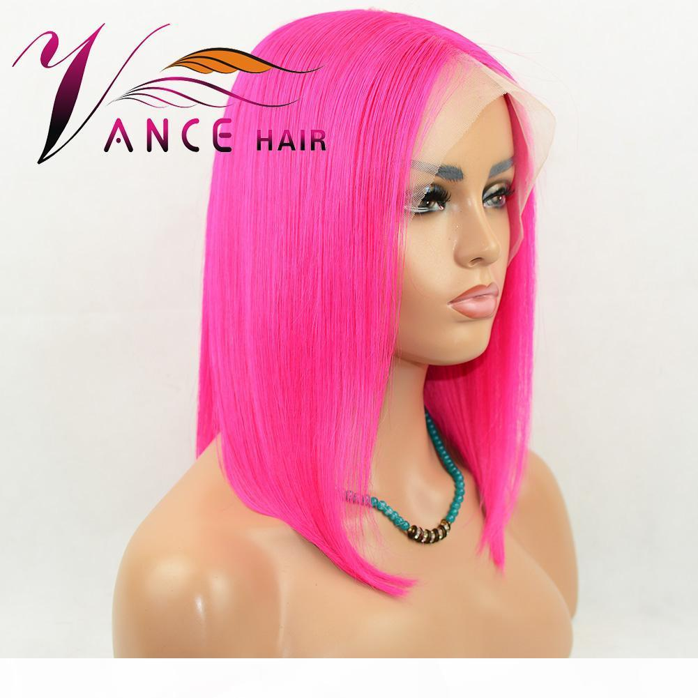 vancehair13x4 Lace Front Human Hair Wigs pink color Short Straight BOB Wig 130%density Pre Plucked Remy Hair wig for black women