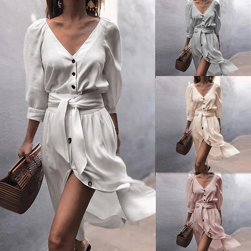 2020 Autunno Sexy Donne Delle Donne Delle Donne Solid Mezza manica con scollo a V bottone Slim Bandage Dress Moda Donna A-Line con cintura