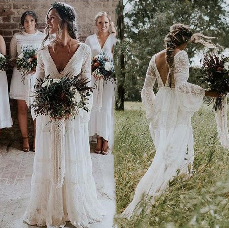 Sexy Backless Boho Wedding Dresses A Line Flare Long Sleeve Lace Chiffon Cheap Country Wedding Gown 2021 Vintage Bohemian Beach Bridal Dress