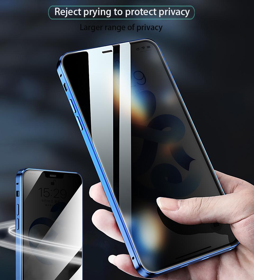 Конфиденциальность закаленного стекла Магнитный чехол для iPhone 11 12 Mini Pro Max XS MAX XR 8 7 6 PLUS SE Magnet Magnet Metal Bumper Anti-Peeping Cover