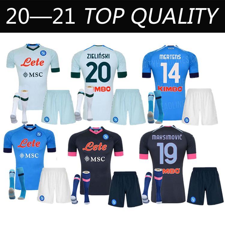 Adulto + Kit Kit Socks 20 21 Napoli Soccer Jersey Home 2020 2021 Nápoles Zielinski Hamsik Insigne Mertens Callejon Jogador Rog Football Camisas