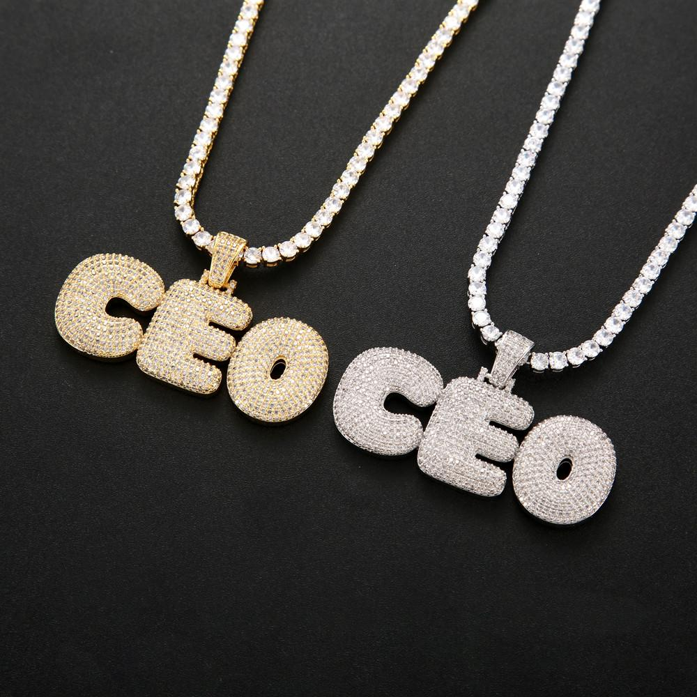 A-Z 0-9 Cubic Zircon Custom Name Letters Pendant HipHop Men Necklace With Charm 4mm Tennis Chain Jewelry Gift