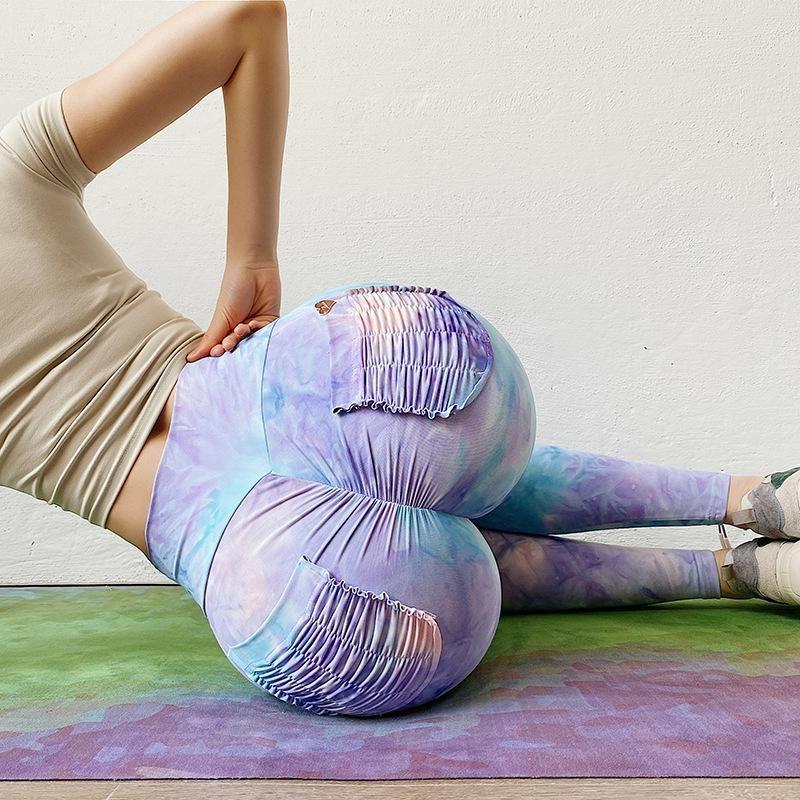 Tie dye workout push up leggings Women back pocket sports tights yoga pants High waist fitness activewear 2021