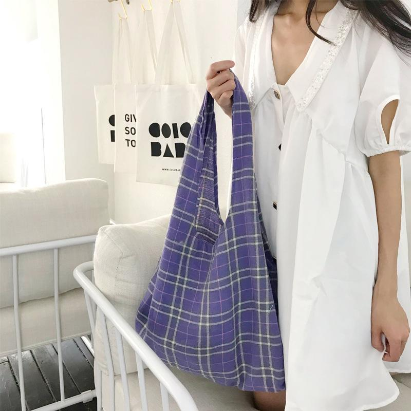 Kreuzkörper-Mode-Plaid-Leinwand-Frauen-Schulter-einfache und vielseitige große Kapazität Student-Shopping-Handtasche direkt von Handtasche mitgeliefert