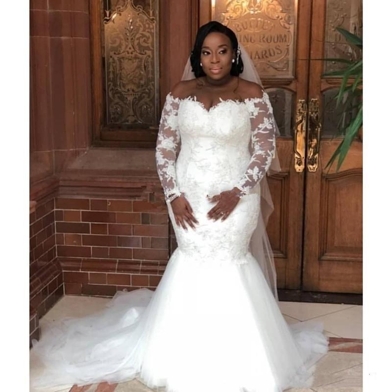 Vestidos de casamento de laço de sereia fora dos mangas compridas do ombro Plus size vestidos nupciais varrem trombeta Senhora africana Vestidos de Novia