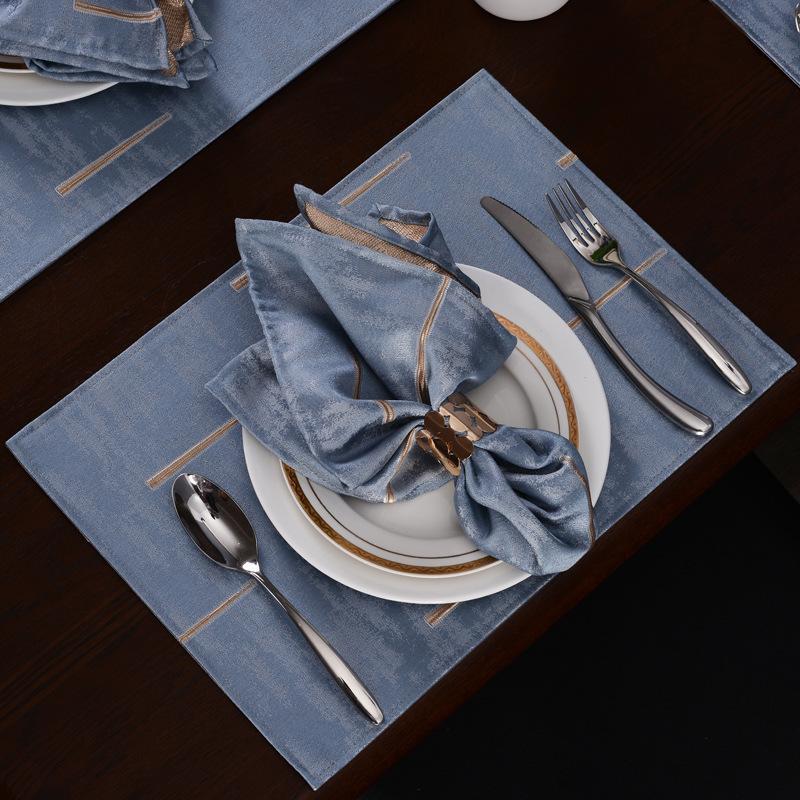 Nordic Semplice stuoia di stoffa Pads Isolamento Placemat Placemat Rettangolare Rettangolare Lavato Anti-Iron Tavolino Tappetino da tavolo Home Western Placemat C1210