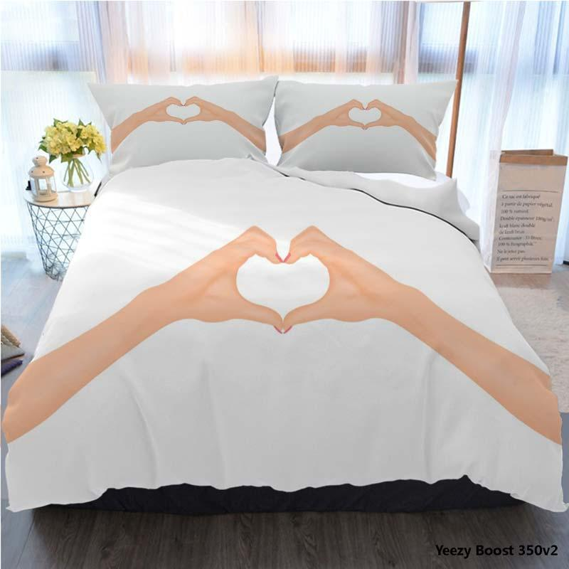 Bedding Set King Size Tortoise Duvet Cover 3D Twin Full Queen Womans Hands Make Heart Shape In Love Concept Bed Cover With Pillowcase