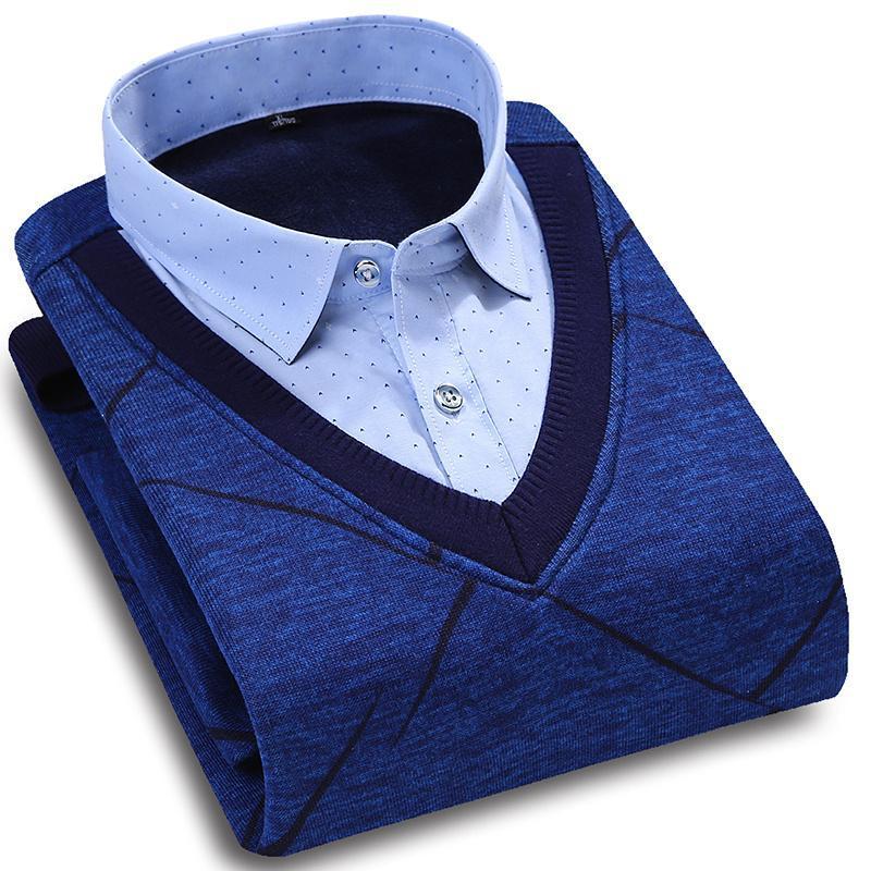 Мужские повседневные рубашки 2021 весенняя рубашка поддельных двух частей с длинными рукавами высокого качества сгущает теплые мужские размеры M-4XL