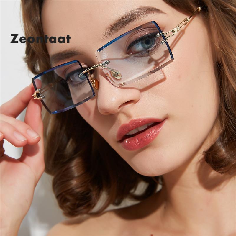 Piccoli occhiali da sole rettangolari di alta qualità Donne Verde Blue Monless Quadrato Square Occhiali da sole per le donne 2020 Stile estate femmina UV400