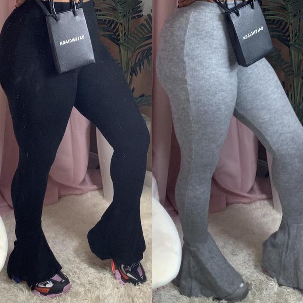 2 색 S-XL 여성의 새로운 스타일 패션 캐주얼 섹시한 느슨한 단색 슬림 피트 플레어 여성 바지 나이트 클럽 옷 29626008699374