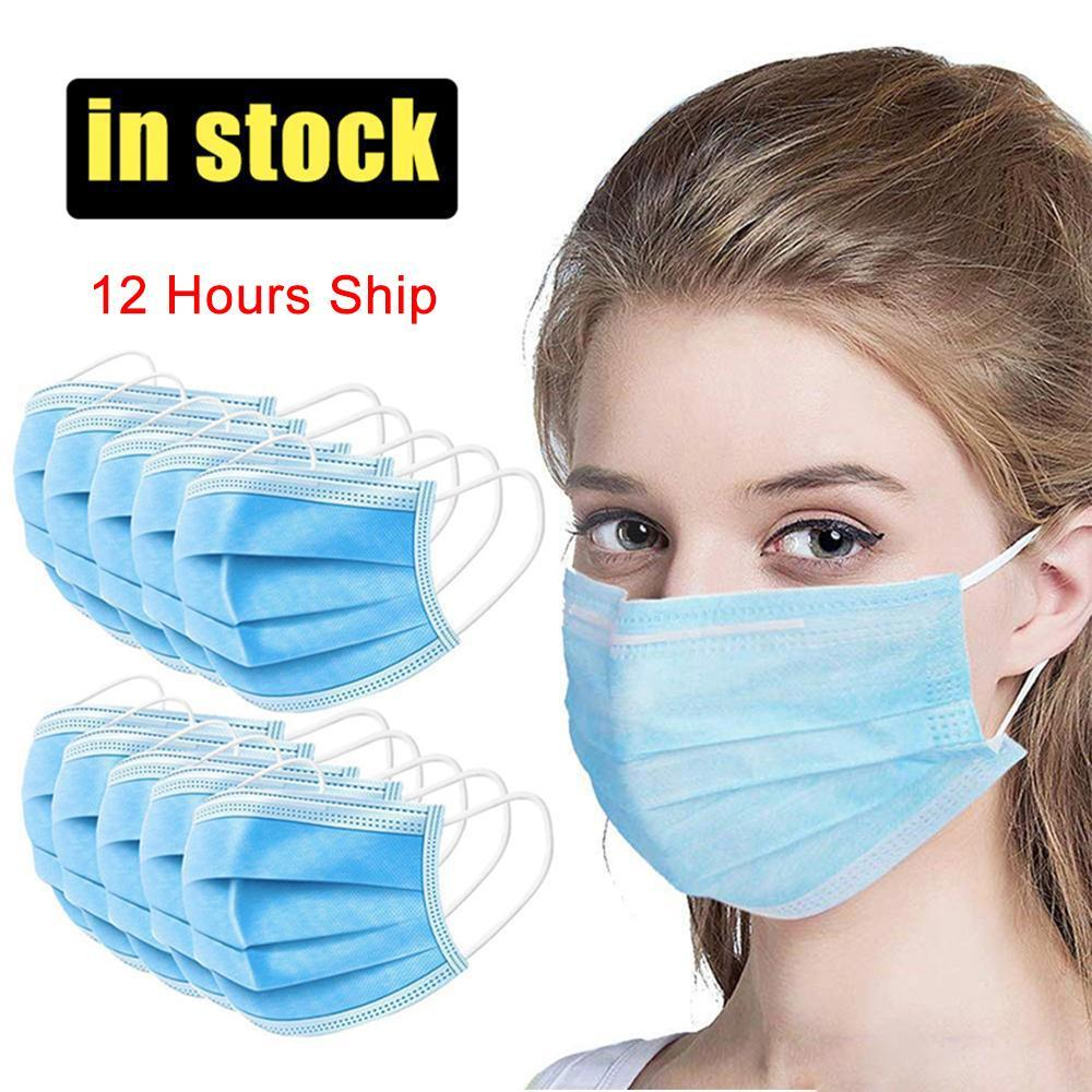 Disposable Face Mask 3 Layer Ear-loop Dust Mouth Masks Cover 3-Ply Non-woven Disposable Dust Mask Soft Breathable outdoor part Free shipping