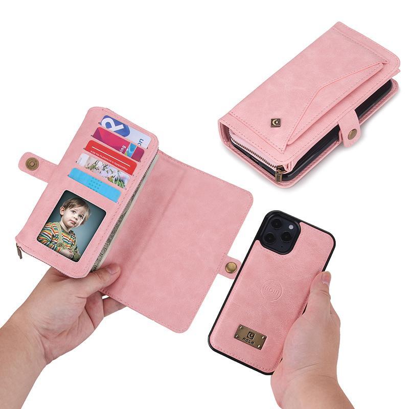 حقيبة محفظة ثلاثية متعددة الوظائف ل iPhone12pro ماكس 11 XR 7Plus XS Maxzipper محفظة حالة لسامسونج Note20 Ultra S20