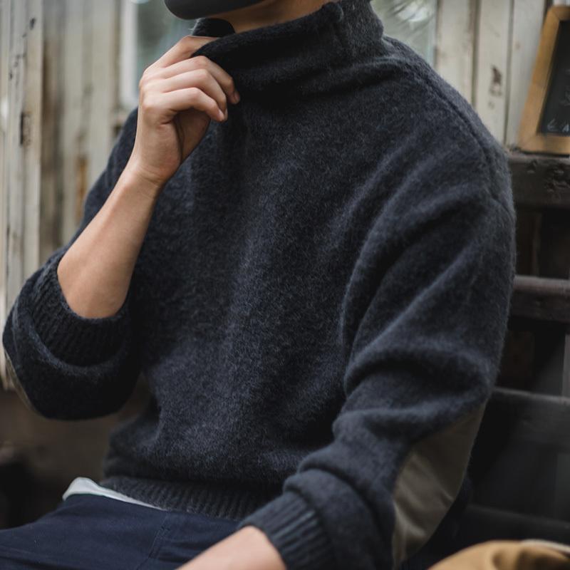 Madello di maglione morbido del mohair del mohair del Mohair del Mohair del Mohair dell'annata dell'annata degli uomini di Madello con la patch del gomito