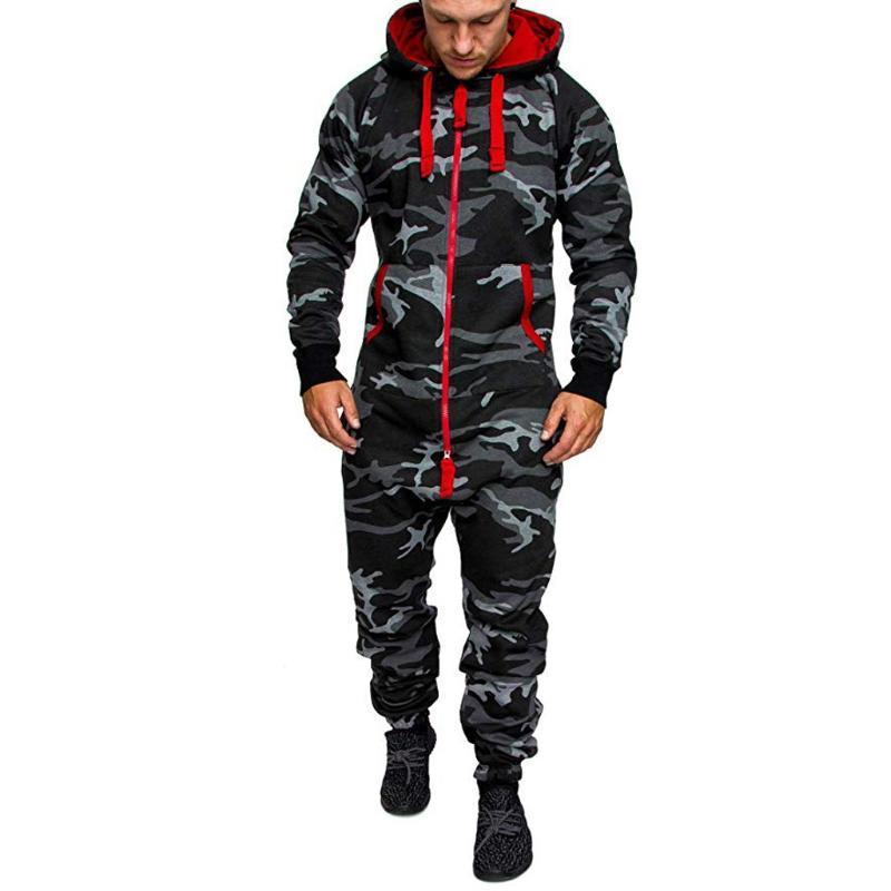 Комбинезон длинные брюки Мужчины Pajamas сращивание осенью зима теплая повседневная удобная капюшона на молнии печать комбинезон мужчин