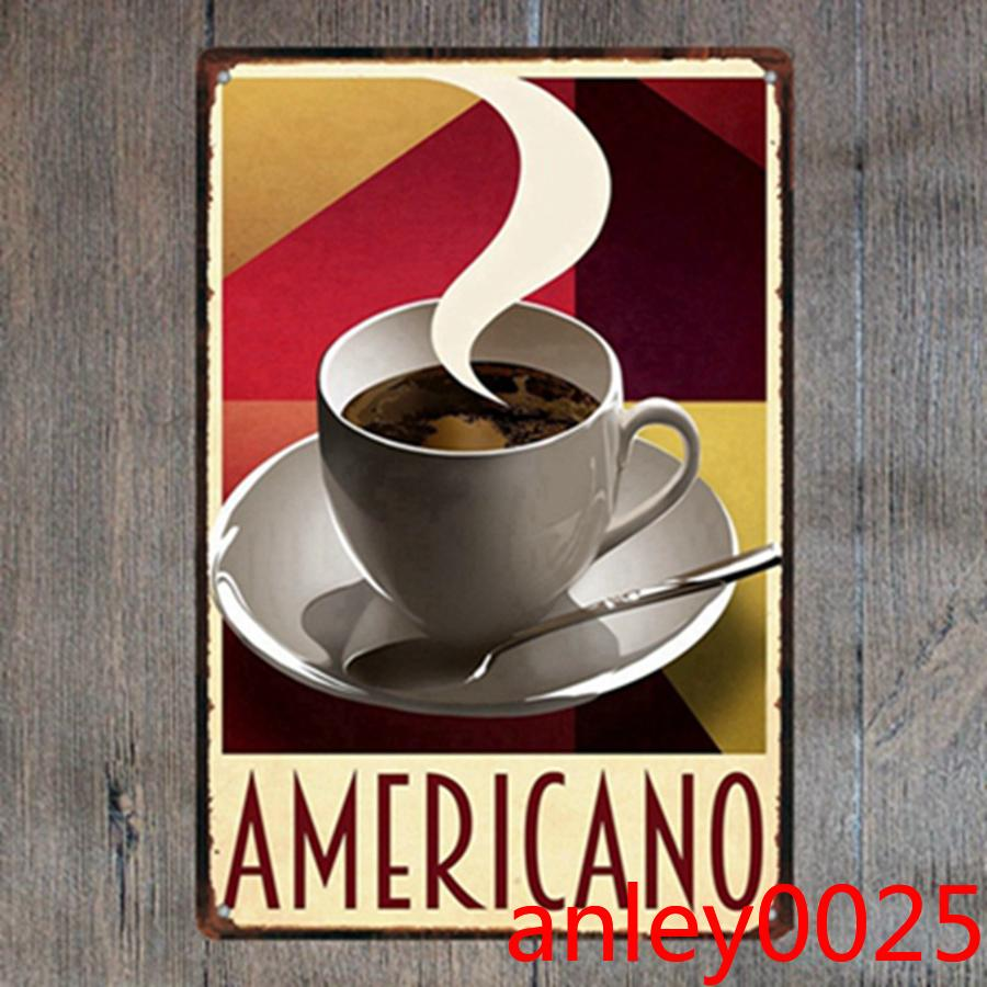 Caffè Americano Tin Sign Segno in metallo Piastra in metallo Pittura di ferro Camera per bambini Ball Bar Coffee Home Art Craft Decor 30x20cm