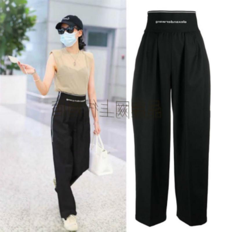 2020 verano otoño mujeres alta cintura salvaje suelto moda elástica cintura casual traje pantalón ancho pierna lj201130