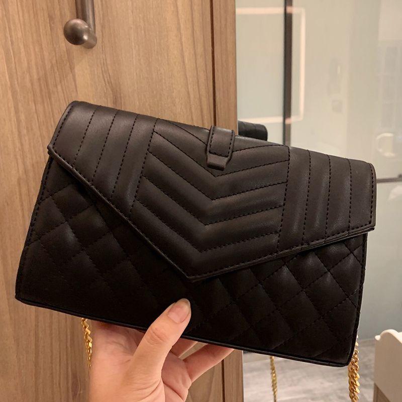 2020 Marque de luxe Sac à bandoulière Noir Nouveau cuir Enveloppe de l'enveloppe Sac Dame Haute Qualité Pochette Lady Lettre Portefeuille