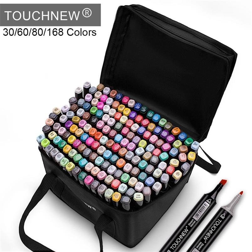 TouchNew Markers Pen 30 60 80 168 Colores Sketch Twin Marker Pens Broad Fine Point Graphic Manga Anime Markersart Suministros 201222