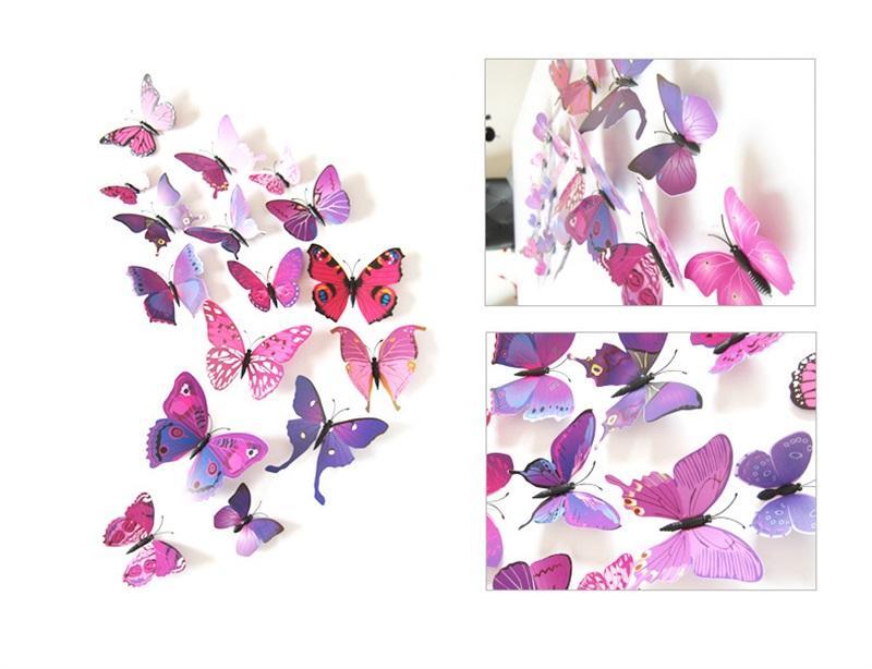 Simulation 3D Papillon Magnets à réfrigérateur Home Animal PVC Chambres d'enfants Stickers muraux Broche de mariage Accessoires de cheveux Ornement 1 6DJ M2