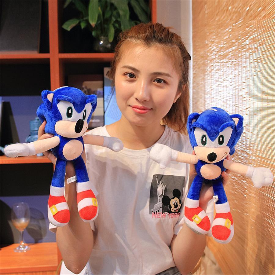 뜨거운 판매 28cm 새로운 도착 Sonic 고슴도치 소닉 꼬리 네클 클로스 Echidna 박제 동물 플러시 장난감 선물 도매