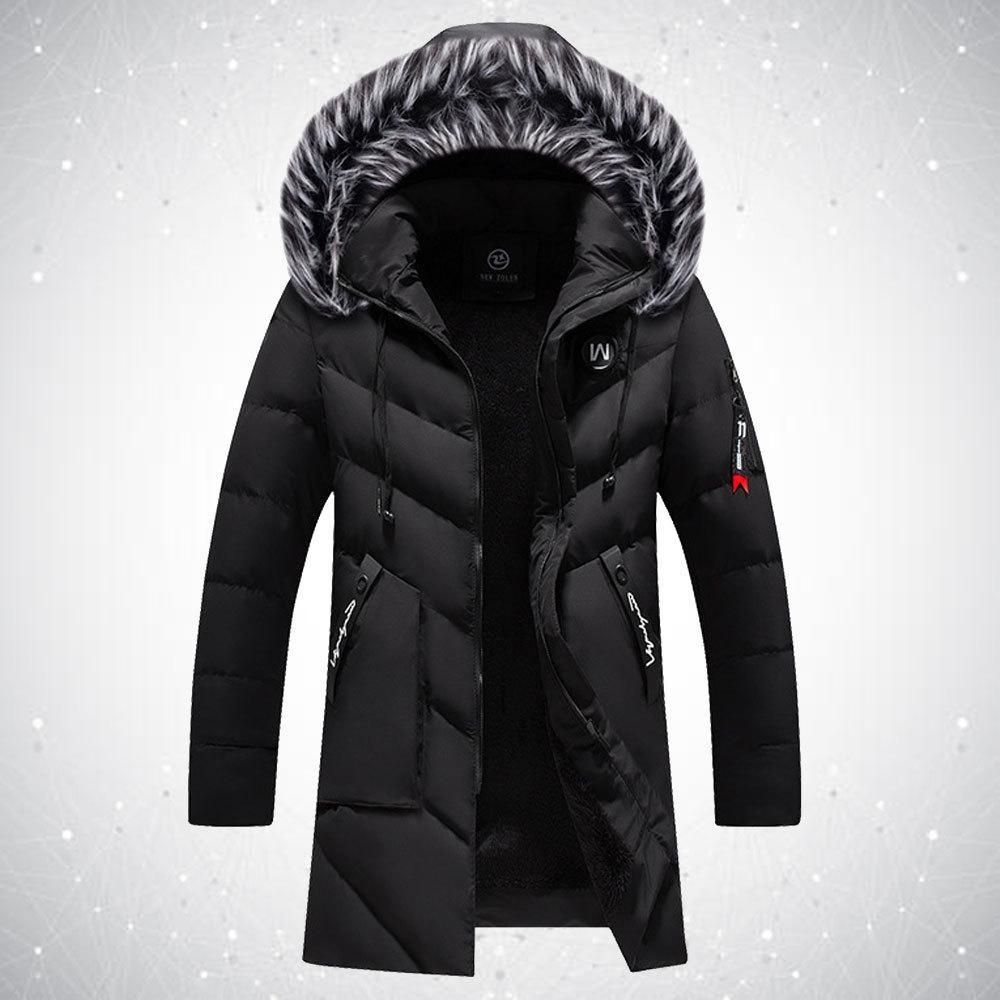 Manteaux d'hiver Parka Collier à coupe-vent à coupe-vent Homme mince Veste longue en coton Quilté Fin Fin