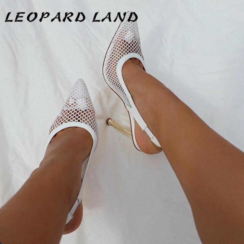 Сандалии леопарда земля женские моды сексуальные каблуки продаж от 35 до 41 металлическая сетка заостренный шпилька высокий каблук -282-5