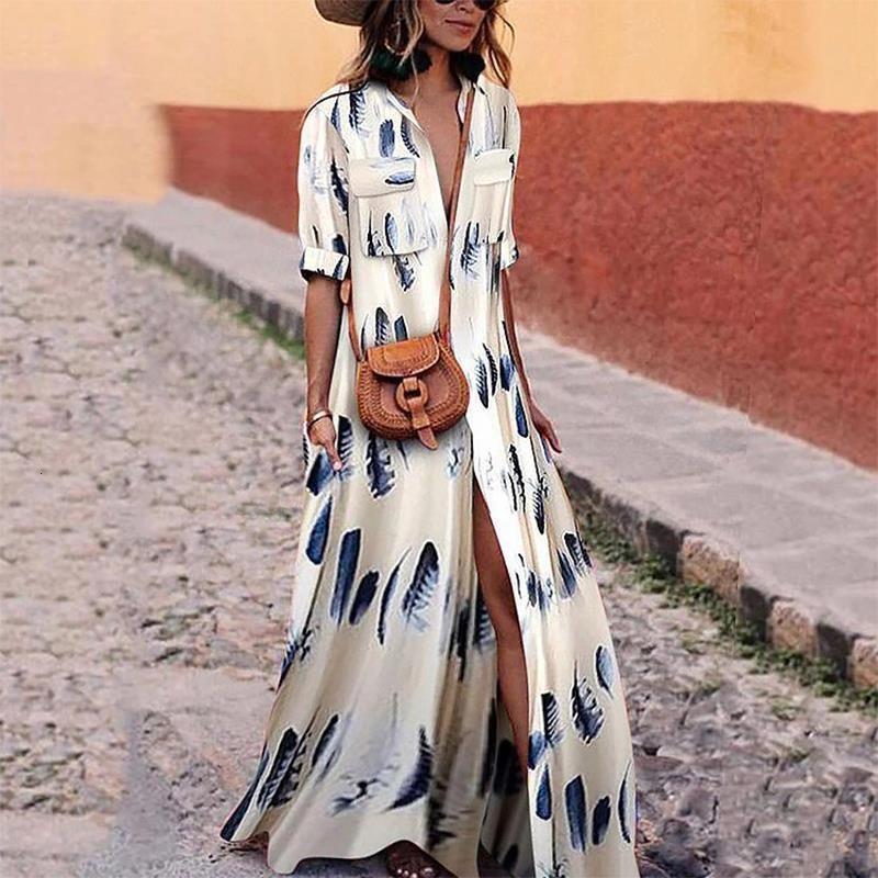Женщины Maxi Pressing Striped Retro Boho стиль 2021 осень длинная полосатая рубашка платье для вечеринки женское элегантное платье плюс размер s xxxl