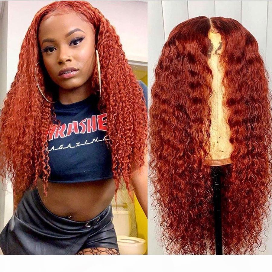 Cordón lleno de jengibre Rubia peruana 13x6 Frente de encaje Pelucas para el cabello humano para mujeres negras Naranja Rizado 360 Pelucas frontales de encaje Pelubre