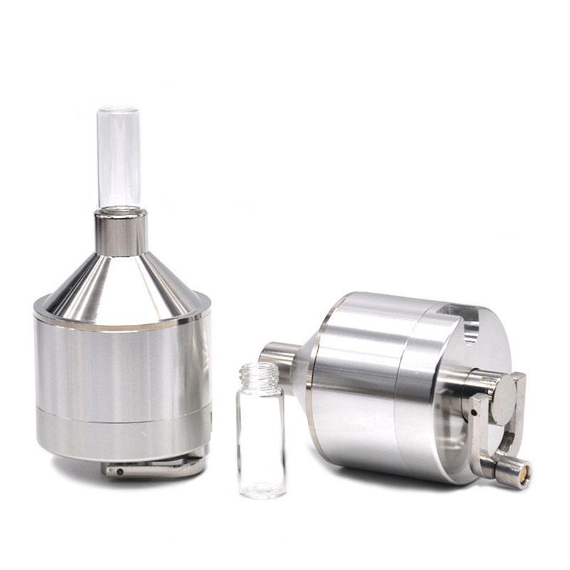 Molinillo de la hierba de aluminio de alta calidad con la manivela de la mano color de plata 44 mm * 107mm de molinillo de tabaco con la pequeña caja de pastillas