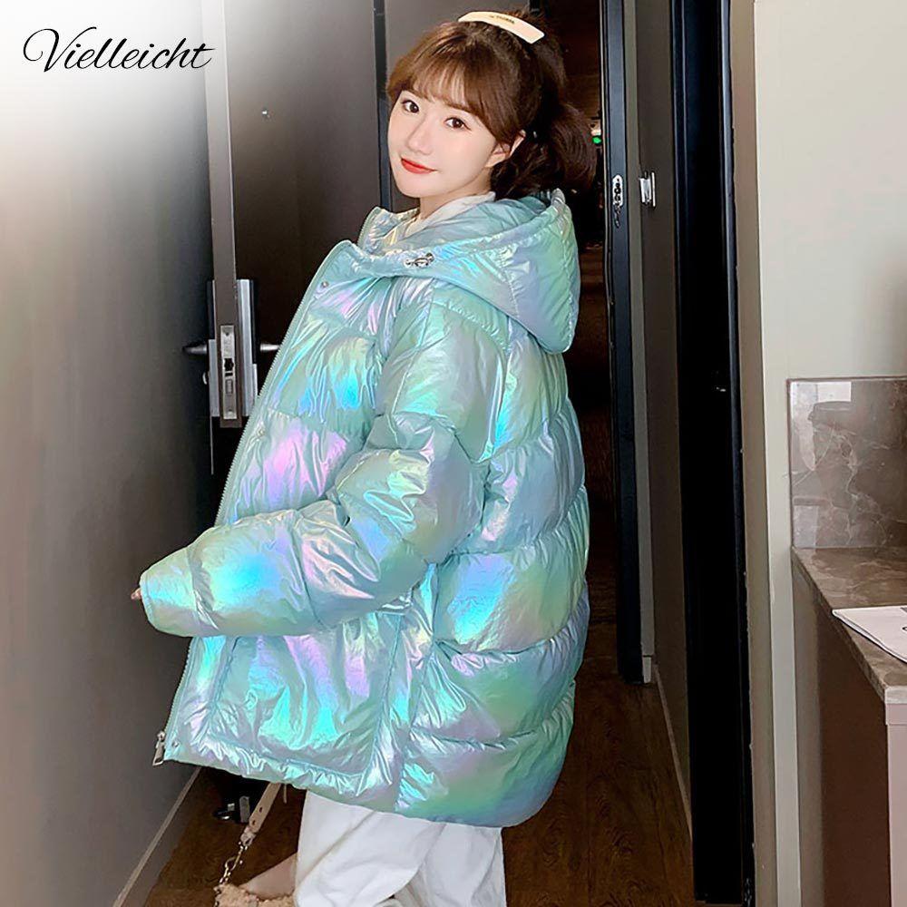 Vielleicht Winter Women Short Parkas Jackets Casual Female Thicken Warm Windprood Shiny Bright Bread Hooded Winter Jacket Coat 201211