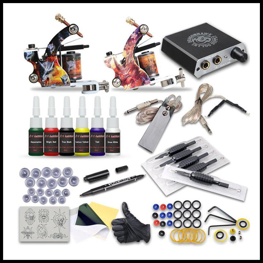 EPACK DRAGONHAWK ARASHI ROTARY Tatuaggio Kit Tattoo Hybrid Tattoo Pen Machine Mini Power Supply Aghi Monouso Aghi Tatuaggio