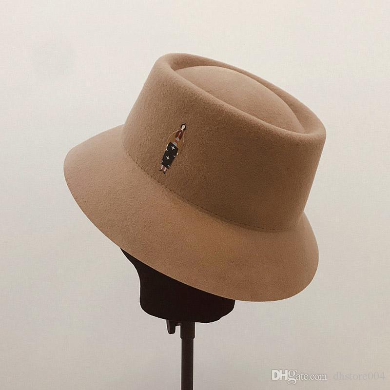 Сокращение возраста элегантные ретро войлочные женщины шляпы теплые осенние дамы твердого цвета широкий краев Fedora Hat Panama шляпа широкая гибкая клохе черная шляпа