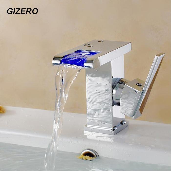 Robinet à LED de salle de bain Pas besoin Basin de batterie Robinet de lavabo Contrôle de la température 3 Changement de couleur Robinet de cascade en laiton solide ZR627