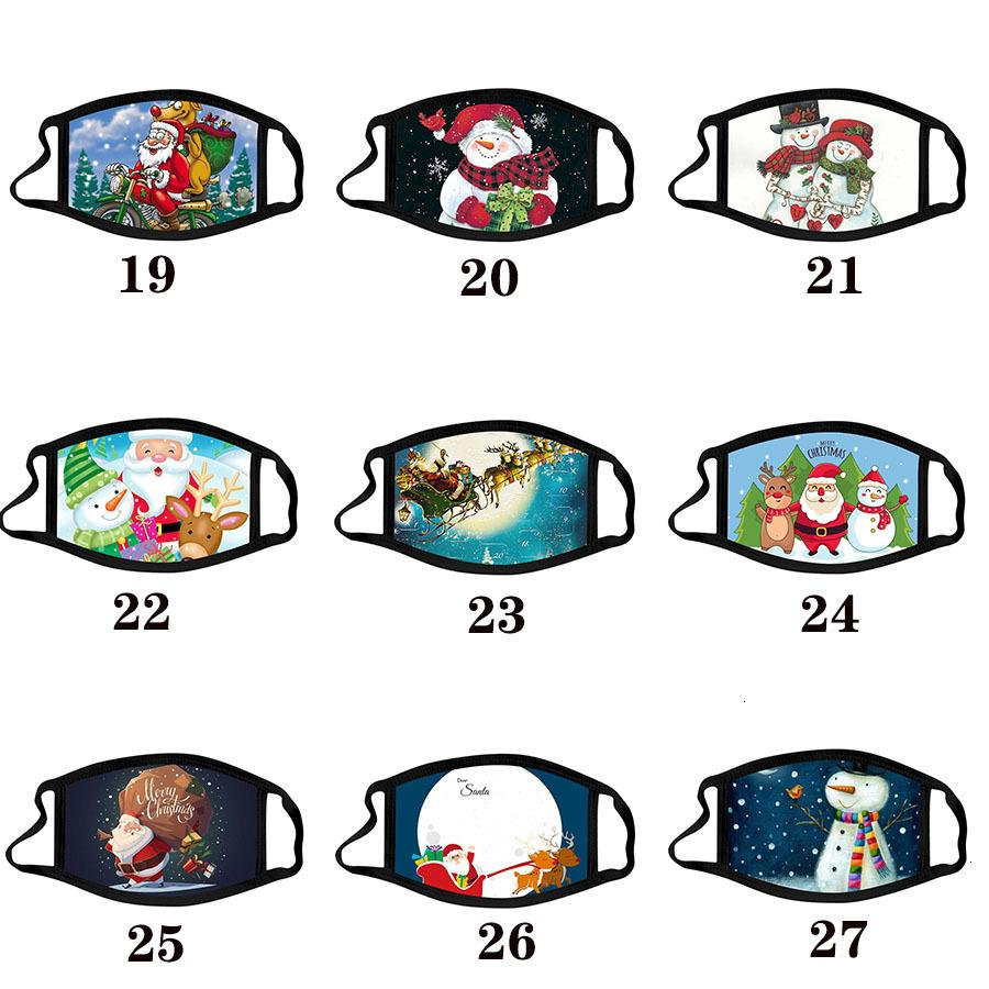 Моющиеся калико против тумана хлопчатобумажные маски для взрослых цвет рождественской маски мультфильм FA