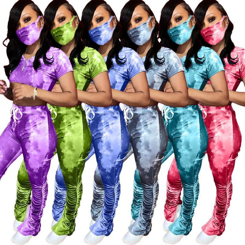 2020 Ropa de verano Mujeres Diseñador Ropa de diseño Tie-teñido Mujeres Dos piezas Trajes Máscaras Ladies Ropa Doble Split Micro Horn Sports Traje S-XXL