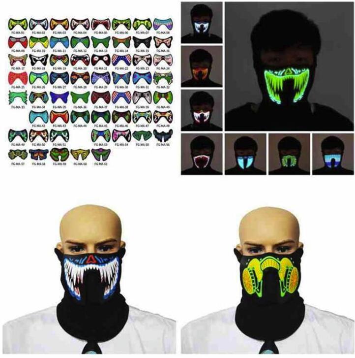 Stock 69 Styles US Styles Flash LED Masque de musique avec son actif pour la danse Patinage Patinage Party Contrôle voix Masque Party Halloween Masques FY0063