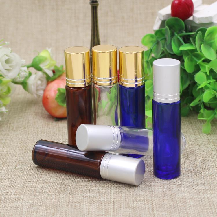 Rollkugel parfüm flasche transparent glas 2 cm 20 teile / los dia h 8,5 cm 10 ml bernstein braun,