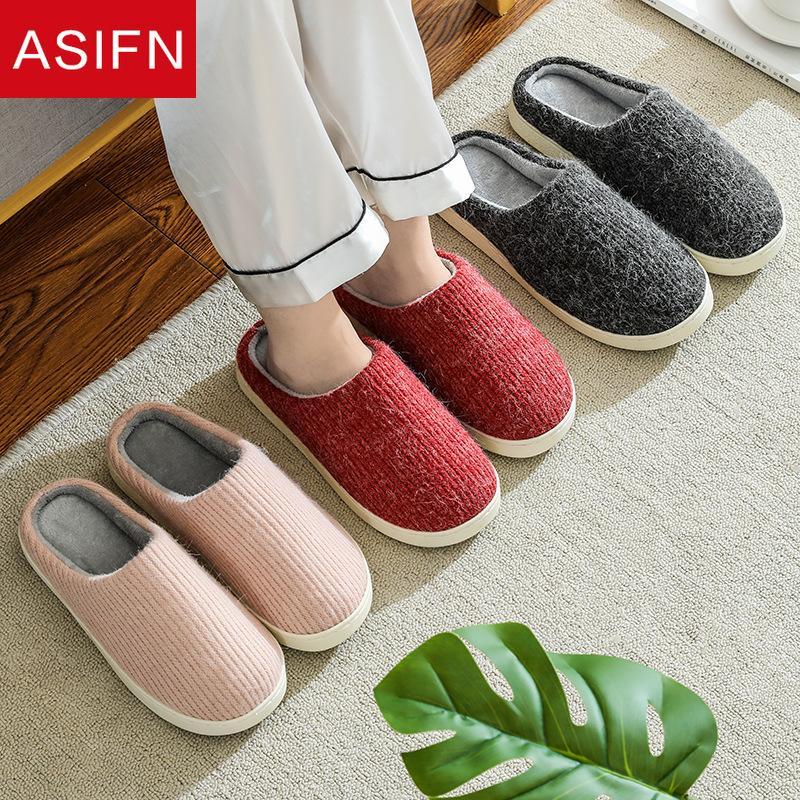 ASIFN Femmes Home Pantoufles Hiver Peluche Étudiants Hommes Maison Maison Garçons Filles Soft Soft Fourrure Pantoufles Zapatos de Mujer
