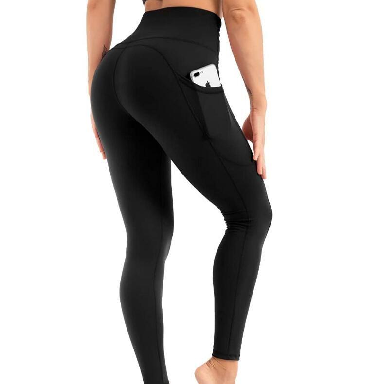 Ücretsiz Bantlar Kadınlar Yoga Pantolon Cepler Ile Yüksek Bel Spor Salonu Giyim Tayt Elastik Fitness Bayan Genel Tam Tayt Egzersiz