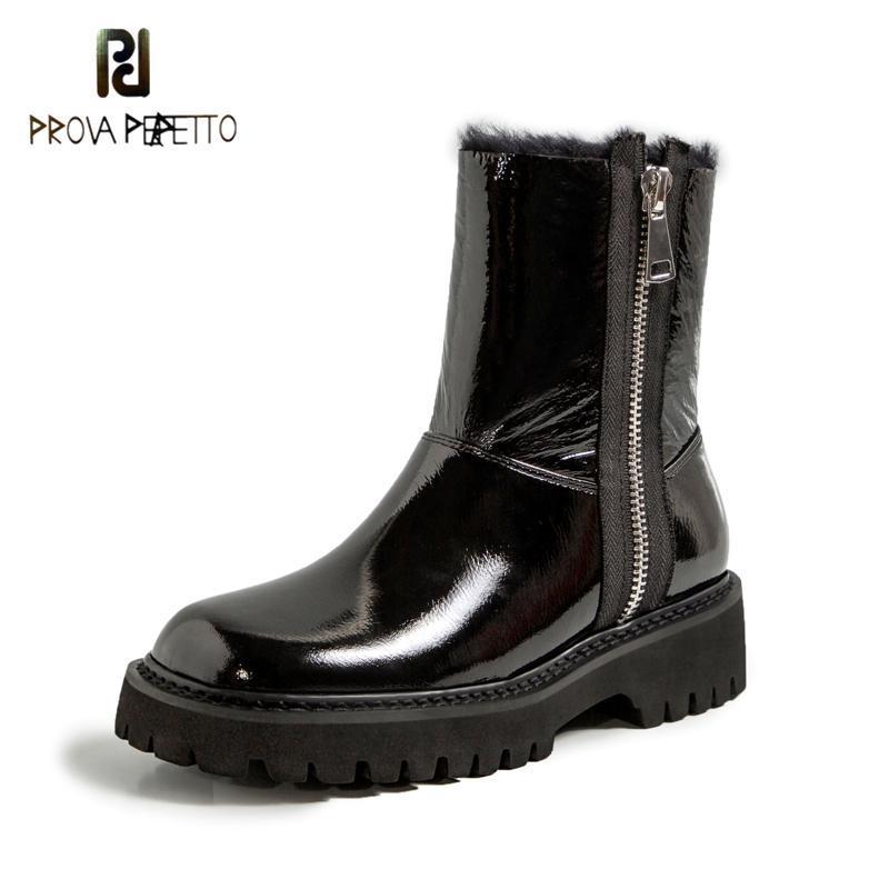 Kış Yeni Moda Patent Deri Kadın Kısa Ayak Bileği Çizmeler Peluş Sakınında Sıcak Yün Çizmeler Yuvarlak Ayak Kare Topuk Siyah Kar