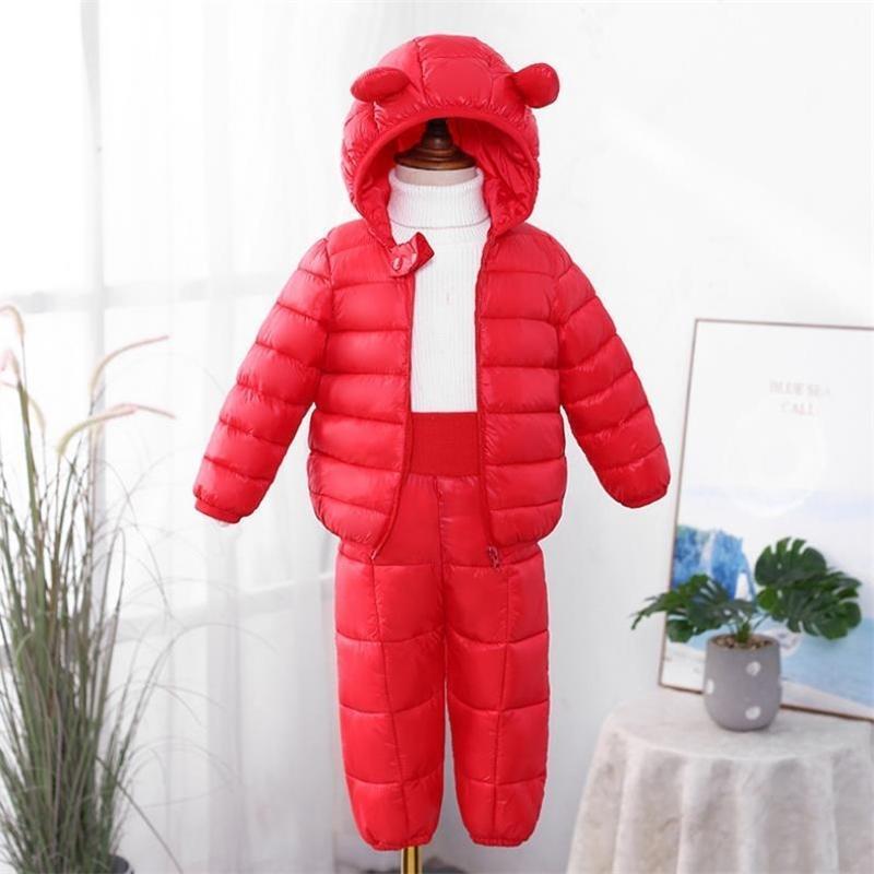 Novas roupas infantis conjuntos meninas de inverno e meninos com capuz jaquetas para baixo casaco-pant macacão terno para crianças quentes pano Y200525