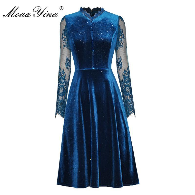 MoaaYina Fashion Designer dress Spring Women's Dress V-neck Lace Long sleeve Lurex Velvet Slim Elegant Dresses
