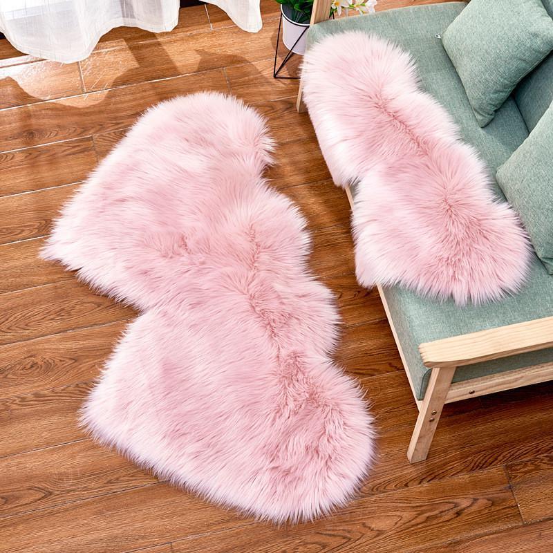 Lieber Plüsch Teppich Imitation Wolle Samt doppelte Liebes-Herz-geformter Teppich Mat Sofa-Kissen-Auflage OWD3010