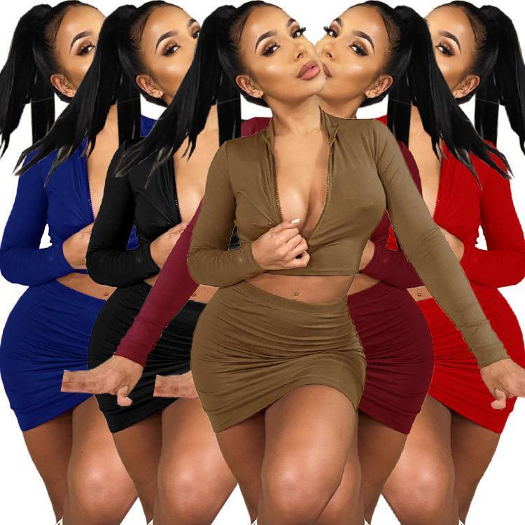 가을 2020 새로운 여성 나이트 클럽 파티 드레스 지퍼 낮은 가슴 탄성 꽉 피팅 섹시한 재킷 짧은 치마 두 조각 세트