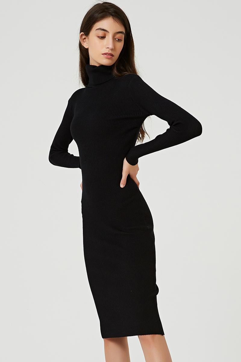 Sonbahar kış balıkçı yaka diz boyu katı kazak elbise kadın örgü uzun kollu kadın ince midi elbiseler r5