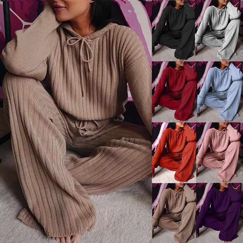 Womens 긴 소매 느슨한 두건이있는 캐주얼 정장 플러스 사이즈 2 조각 세트 핏 스트립 코튼 라운지 착용 2 피스 세트 잠옷 정장